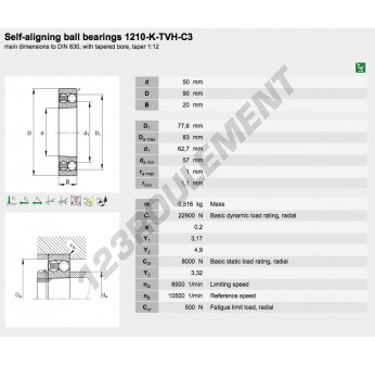 1210-K-TVH-C3-FAG - 50x90x20 mm