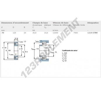 1214-ETN9-SKF - 70x125x24 mm