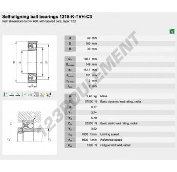 1218-K-TVH-C3-FAG - 90x160x30 mm