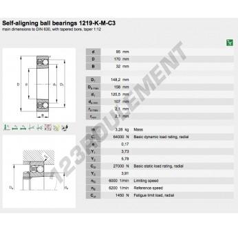 1219-K-M-C3-FAG - 95x170x32 mm