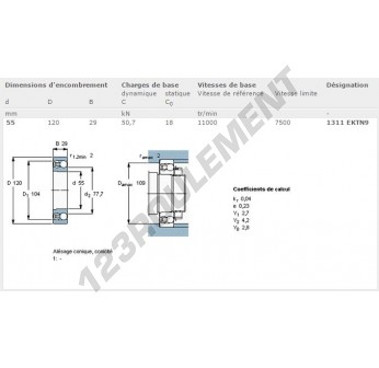 1311-EK-TN9-SKF - 55x120x29 mm