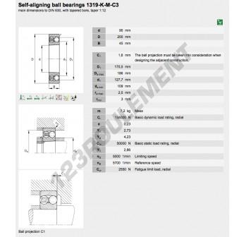 1319-K-M-C3-FAG - 95x200x47 mm