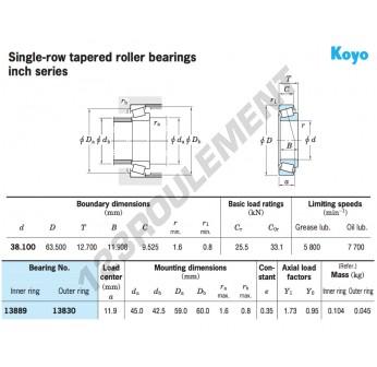 13889-13830-KOYO - 38.1x63.5x12.7 mm