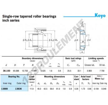 13889-13836-KOYO - 38.1x65.09x12.7 mm