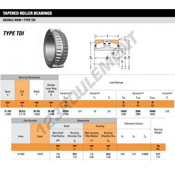 14126D-14276-TIMKEN - 31.75x69.01x39.71 mm