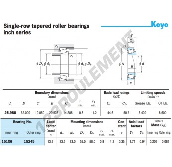 15106-15245-KOYO - 26.99x62x19.05 mm