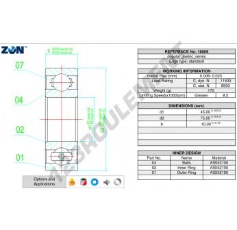 16009-ZEN - 45x75x10 mm