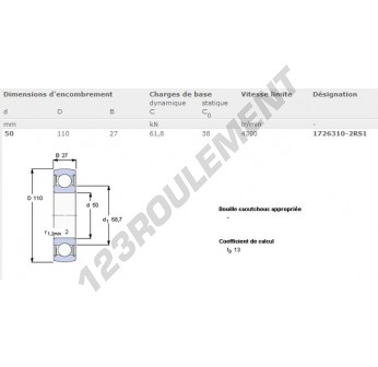 1726310-2RS1-SKF - 50x110x27 mm