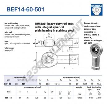 BEF14-60-501-DURBAL - 14x36x19 mm