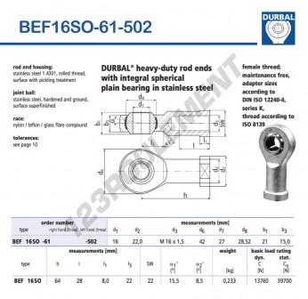BEF16SO-61-502-DURBAL