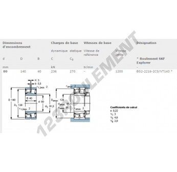 BS2-2216-2CS-VT143-SKF - 80x140x40 mm