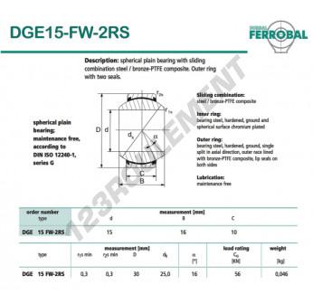DGE15-FW-2RS-DURBAL - 15x30x10 mm