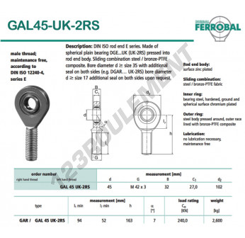 GAL45-UK-2RS-DURBAL