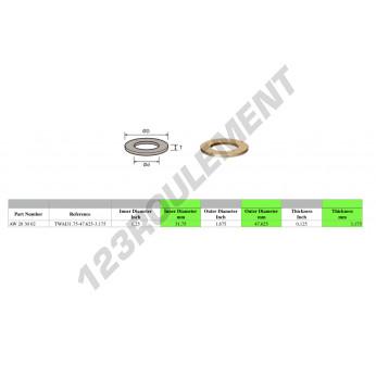 TWAI31.75-47.625-3.175 - 31.75x47.63x3.18 mm